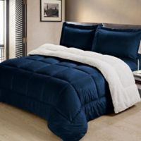 Cathay Home Reversible 3 Piece Bedding Set in Navy