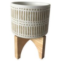 Sagebrook Home 6.75-Inch Patterned Ceramic Planter in Beige/White on Stand