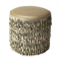Butler Specialty Company Leather Fringe Ottoman in Grey