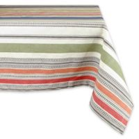 Design Imports Warm Stripe 60-Inch x 84-Inch Oblong Tablecloth