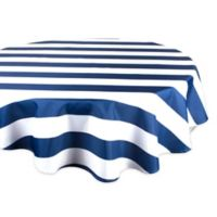 Design Imports Cabana Strip 60-Inch Round Tablecloth in Nautical Blue