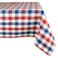 Design Imports Check 60-Inch x 84-Inch Oblong Tablecloth in Red/Blue