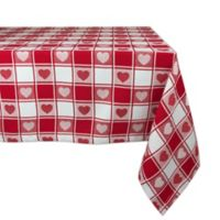 Design Imports Heart Check 60-Inch x 84-Inch Oblong Tablecloth in Red
