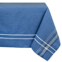 Design Imports Chambray French Stripe 60-Inch x 84-Inch Oblong Tablecloth in Blue
