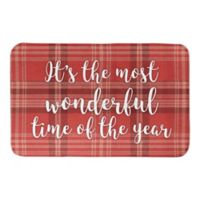 "Designs Direct ""Most Wonderful Time of the Year"" 21"" x 34"" Bath Mat in Red Plaid"