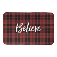 "Designs Direct ""Believe"" 21-Inch x 34-Inch Bath Mat in Red Plaid"
