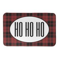 "Designs Direct ""Ho Ho Ho"" 21"" x 34"" Bath Mat in Red Plaid"