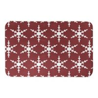 "Designs Direct Snowflake 21"" x 34"" Bath Mat in Red/White"