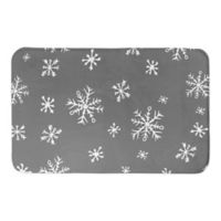 """Designs Direct Grey and White Snowflakes 34"""" x 21"""" Bath Mat"""