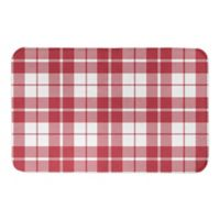 "Designs Direct Red Plaid 34"" x 21"" Bath Mat in Red"