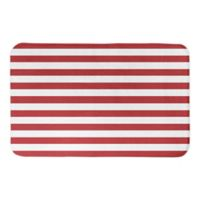 """Designs Direct Red and White Stripes 34"""" x 21"""" Bath Mat in Red"""