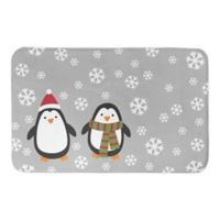 "Designs Direct Snowy Penguins 34"" x 21"" Bath Mat in Grey"
