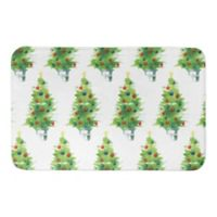 "Designs Direct Watercolor Christmas Tree 34"" x 21"" Bath Mat in Green"