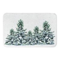 "Designs Direct Snowy Winter Forest 34"" x 21"" Bath Mat in Green"