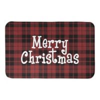 "Designs Direct Merry Christmas Plaid 34"" x 21"" Bath Mat in Red"