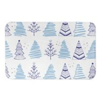 "Designs Direct Christmas Tree Doodle 34"" x 21"" Bath Mat in Blue"