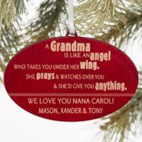 Wonderful Grandma Christmas Wood Ornament in Red