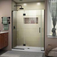 """DreamLine Unidoor-X 58-58.5"""" W x 72"""" H Frameless Shower Door in Satin Black, Left Wall Inst."""