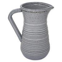 Sagebrook Home Ribbed Ceramic Pitcher Vase in Grey