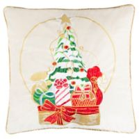 Safavieh Junie Square Christmas Tree Throw Pillow in Beige/Red
