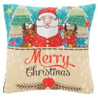 Safavieh Lux Square Santa Throw Pillow in Blue/Red
