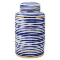 Sagebrook Home Decorative 12-Inch Striped Ceramic Jar in Blue/White