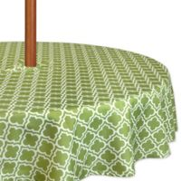 Design Imports Lattice 60-Inch Round Tablecloth with Umbrella Hole in Green