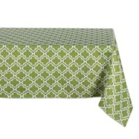 Design Imports Lattice 60-Inch x 84-Inch Oblong Tablecloth with Umbrella Hole in Green