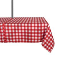 Design Imports Buffalo Check 60-Inch x 84-Inch Oblong Tablecloth with Umbrella Hole in Red