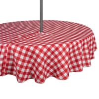 Design Imports Buffalo Check 60-Inch Round Tablecloth with Umbrella Hole in Red