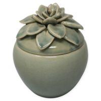 Sagebrook Home Decorative 7.5-Inch Ceramic Jar with Flower Top in Green