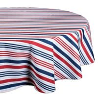 Design Imports Patriotic Stripe 60-Inch Round Tablecloth