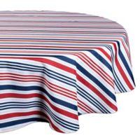 Design Imports Patriotic Stripe 60-Inch Round Indoor/Outdoor Tablecloth