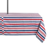 Design Imports Patriotic Stripe 60-Inch x 120-Inch Oblong Zippered Indoor/Outdoor Tablecloth