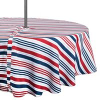 Design Imports Patriotic Stripe 52-Inch Round Zippered Tablecloth