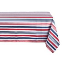Design Imports Patriotic Stripe 60-Inch x 120-Inch Oblong Tablecloth