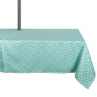Design Imports Diamond 60-Inch x 120-Inch Oblong Tablecloth with Umbrella Hole in Aqua