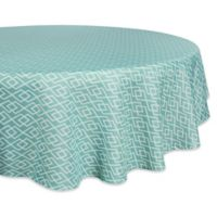 Design Imports Diamond 60-Inch Round Tablecloth in Aqua