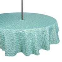 Design Imports Diamond 60-Inch Round Indoor/Outdoor Tablecloth with Umbrella Hole in Aqua