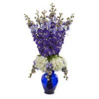 Nearly Natural 33-Inch Purple Delphinium & Hydrangea Arrangement in Blue Vase