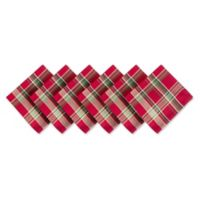 Design Imports Plaid Napkins in Tango Red (Set of 6)