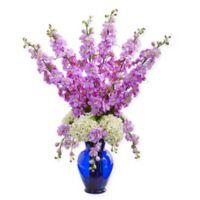 Nearly Natural 33-Inch Lavender Delphinium & Hydrangea Arrangement in Blue Vase
