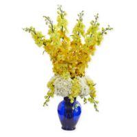 Nearly Natural 33-Inch Yellow Delphinium & Hydrangea Arrangement in Blue Vase