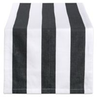 Design Imports Dobby Stripe 108-Inch Table Runner in Black/White