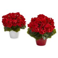 Nearly Natural 12-Inch UV-Resistant Red Geranium Plants (Set of 2)