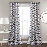 Lush Decor Kevin 84-Inch Grommet Room Darkening Rod Pocket Window Curtain Panel Pair in Blue/Grey