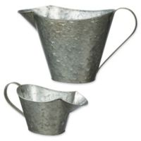 Galvanized Metal Watering Can Planters (Set of 2)