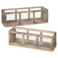 Rectangular Mesh-Paneled Wooden Planters (Set of 2)