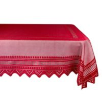 Design Imports Nordic Lace 52-Inch x 90-Inch Oblong Tablecloth in Red