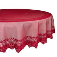 Design Imports Nordic Lace 70-Inch Round Tablecloth in Red